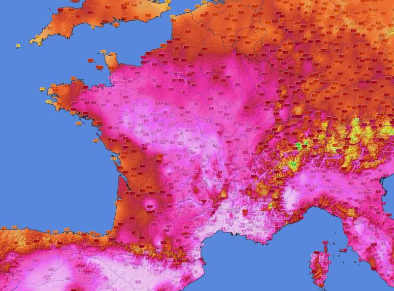 Carte de la vague de chaleur de l'été 2019